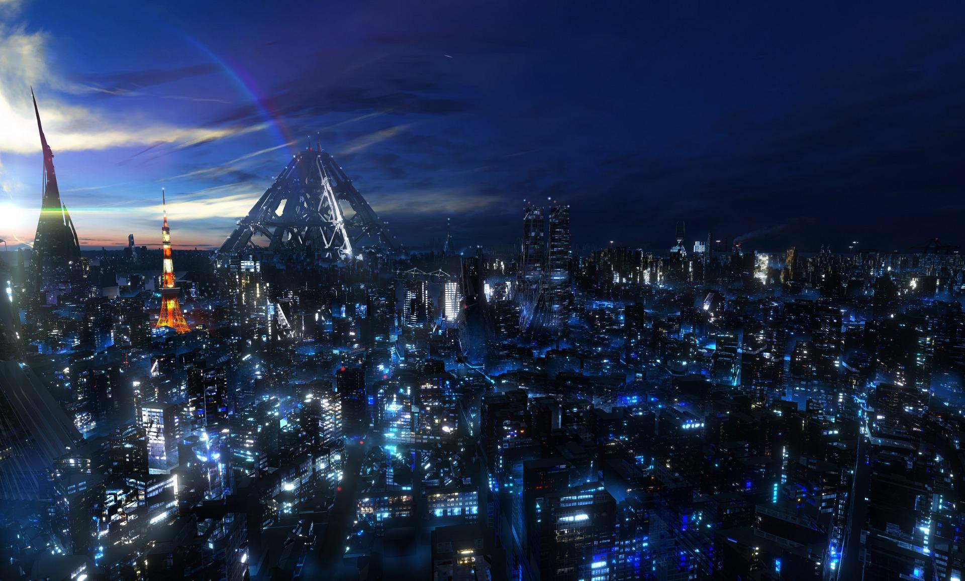 ギルティクラウンの都会の夜景